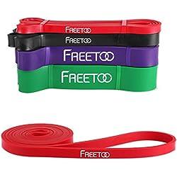 FREETOO Bandas de Resistencia de Goma Fitness Cinta de Resistencia para el Entrenamiento de Fuerza/músculos/Ejercicio/Home gimnasios en 5 Puntos Fuertes (rojo)