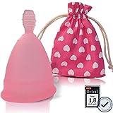 Menstruationstasse CozyCup SPORT aus medizinischem Silikon - Menstrual Cup für sportliche Frauen (rosa, 1 - klein)