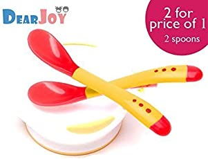 DearJoy Silicone Tip Heat Sensitive Temperature Sensing Spoons (Red) - 2 Spoons