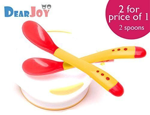 DearJoy Silicone Tip Heat Sensitive Soft Spoon and Fork