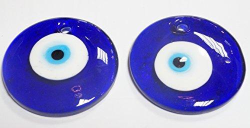 turco 2 Ojos Colgar- de Cristal contra el Mal de Ojo, Azul y Blanco y para la Buena Suerte, 6 cm de diametro con Agujero