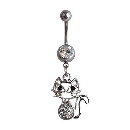 Lureme Pave cristallo Gatto Pendant Argento Tone Belly Button Anello Navel Anello for Women and ragazze