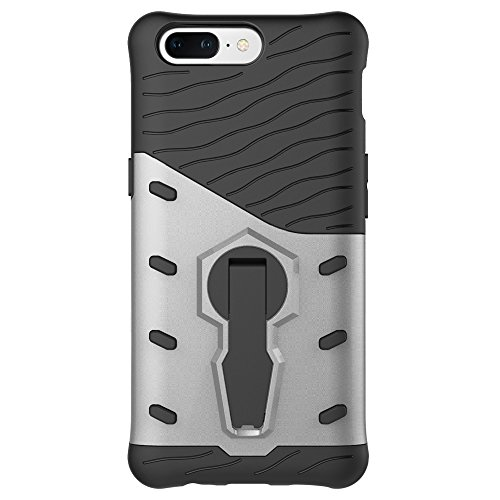 Heavy Duty Armor Denfender Back Cover 360 ° Drehbarer Stand Shockproof Case 2 in 1 PC + TPU Shell Cover für OnePlus 5 ( Color : Silver ) Silver