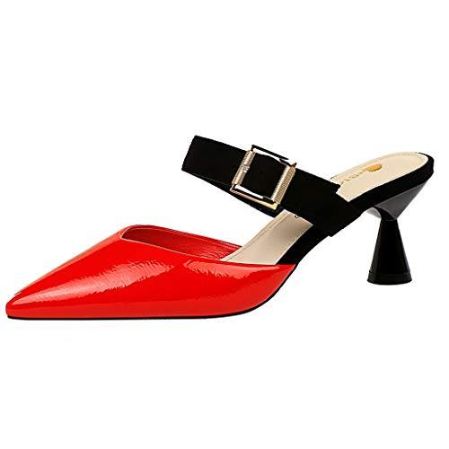 ew Womens Buckled Strap Niedriger Pfennigabsatz Spitz Lackleder Rutschfeste Pumps Geschlossene Zehen Colorblock Slip-on Damen Sandalen ()