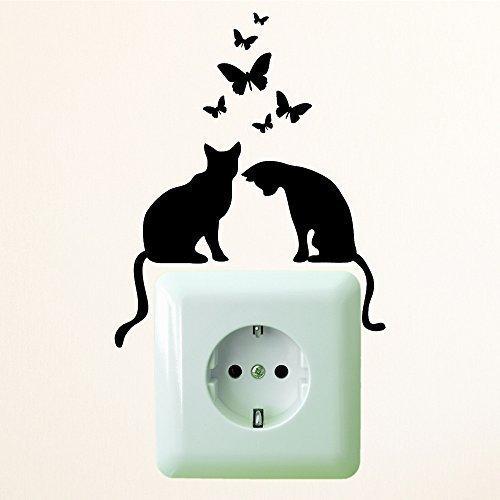 Wandtattoo-Loft Das ORIGINAL Zwei Katzen mit Schmetterlingen' Größe 10 x 12 cm/Aufkleber für...