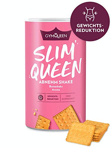 GymQueen Slim Queen Abnehm Shake 420g | Leckerer Diät-Shake zum einfachen Abnehmen | Mahlzeitersatz mit wichtigen Vitaminen und Nährstoffen | nur 250 kcal pro Portion & ohne Zucker-Zusatz | Butterkeks