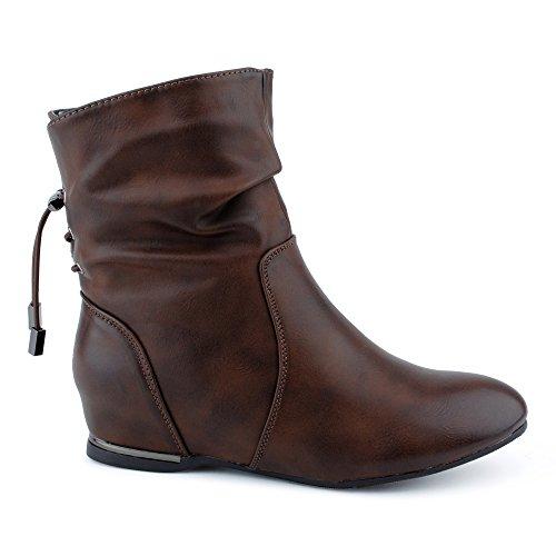 Damen Stiefeletten Schlupf Stiefel Reißverschluss Versteckter Keil-Absatz Schnür Boots Schuhe Braun WsIgKDSw