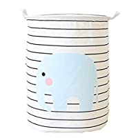 LEELI Canvas storage Basket with Handle Collapsible Toy Bin Organizer for Playroom,Toy Room,Kid