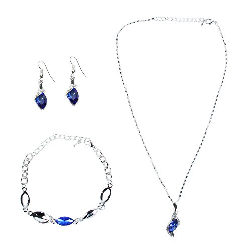 niceEshop(TM) Fashion Rhinestone Women Jewelry Set Necklace Bracelet and Dangle Earrings (Blue and Silver)