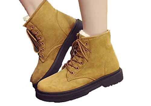 YCMDM Bottes de neige Winter Martin Bottes Femmes Plus Velours Chaussures de coton chauds Imperméables Beige Gris Noir Marron 39 36 35 38 40 37 brown