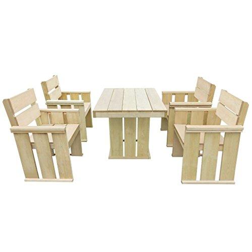 Kiefer Gartenmöbel (vidaXL Kiefer Imprägniert Gartenmöbel 5-TLG. Holz Sitzgruppe Gartengarnitur)