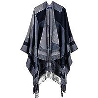 Ztweijin Winter Poncho Nachahmung Frauen Schal Mantel übergroße gestrickte Dicke Kappen Troddelwärmer Schals