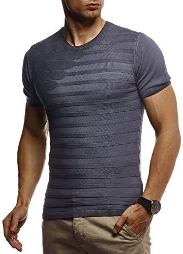 LEIF NELSON Herren Sommer T-Shirt Rundhals Ausschnitt Slim Fit aus Feinstrick | Cooles Basic Männer T-Shirt Crew Neck | Jungen Kurzarmshirt O-Neck Sweater Shirt Kurzarm Lang | LN7300 Anthrazit Medium -