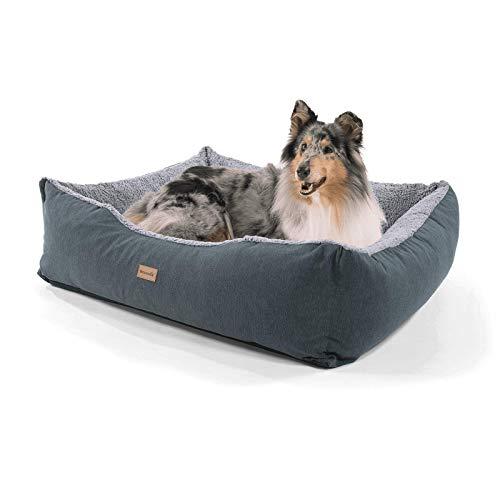 brunolie Emma großer Hundekorb in Grau, waschbar, hygienisch und rutschfest, luftiges Hundebett mit Kissen zum Kuscheln, Größe L (100 x 90 x 30 cm)