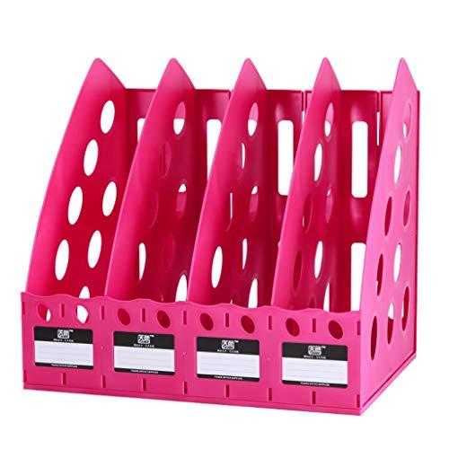 Portadocumenti a Forma di ventaglio Vassoio Portadocumenti in plastica a 4 Piani for Articoli for Ufficio Cartella for riviste Carta A4 (Color : Rose Red)