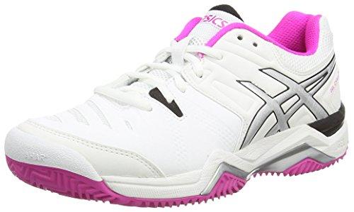 Asics Gel-Challenger 10 Clay, Women's Tennis Shoes, White (White/Pink Glow/Black 0135), 6.5 UK (40 EU)