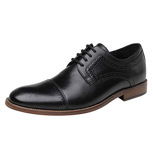 Jamron Hommes Haut de Gamme Cuir Véritable Carré Casquette Brogues Sole en Bois Derby Lacets Chaussures Habillées Uniformes