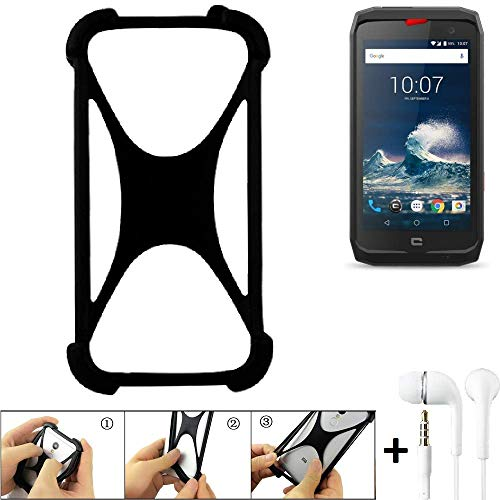 K-S-Trade Bumper Crosscall Action-X3 Schutzhülle Handyhülle Silikon Schutz Hülle Cover Case Silikoncase Silikonbumper TPU Softcase Smartphone, schwarz (1x), Headphones