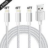Cable Chargeur iPhone,IMITOR Cable Lightning Lot DE 3 2m en Nylon Tressé Cordon Certifié CE pour iPhone X/8/8 Plus/7/7 Plus/6 Plus/6s/6/5S/5,iPad Air,iPad 2/3 (Gris Argenté)