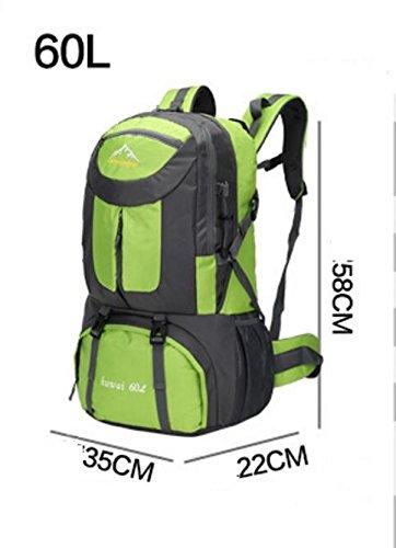 LQABW Große Kapazitäts-Schulter-Men Outdoor Climbing Pinsel-Water Reisen Wandern Bergsteigen Rucksack Tasche Green