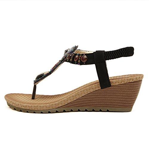 Da donna Scarpe sandalo flip-flop Di perline in strass Bohemia stili Nero