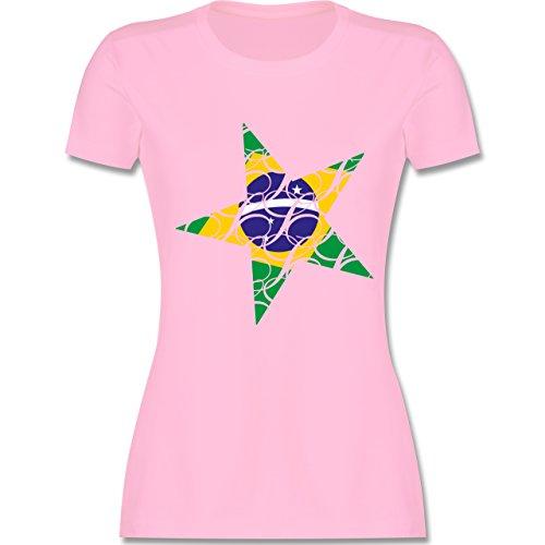 Länder Brasilien Stern tailliertes Premium TShirt mit Rundhalsausschnitt  für Damen Rosa