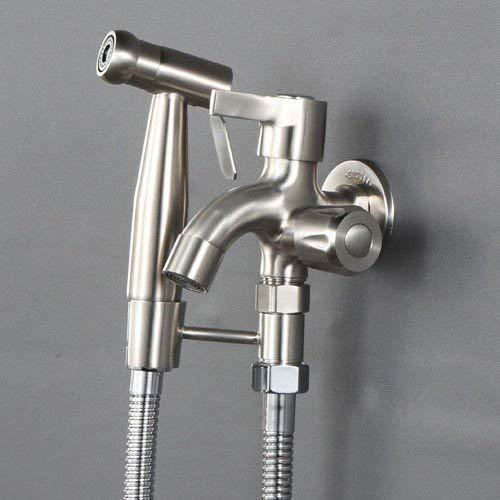 NewBorn Wasserhahn Küche oder Bad Waschbecken Mischbatterie Edelstahl Punch-Free Primer-Dusche Wasserhahn WC Spritzpistole Druck Sprinkler Kit Sanitär-Armatur ist Flush To D -