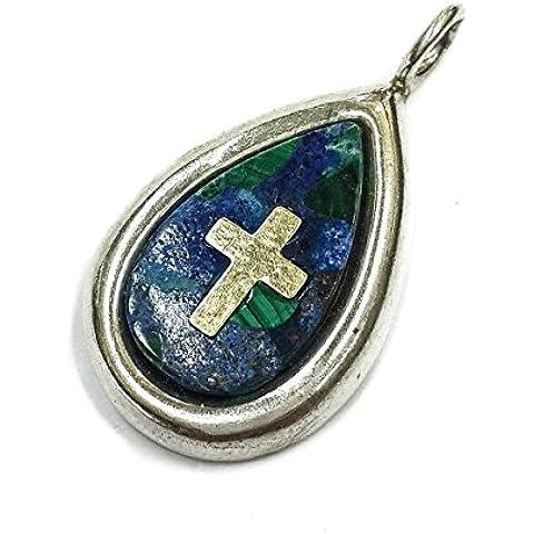 Pietra del re Solomon Eilat argento 925 ciondolo in oro 14 carati, croce da Gerusalemme 1.2
