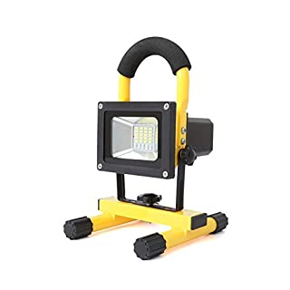 AutoFu LED Work Light Portable Security Flashlight 4 Levels Bright 30W Rechargeable 3200LM Flood Worklight Lamp with USB Ports (Yellow)