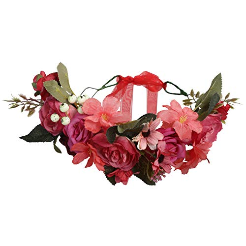 AWAYTR Boho Blumenkrone Stirnband Festival Kopfschmuck - Handgefertigt Blume Haarkranz mit Band Beere Blumenstirnband für Frauen und Mädchen Kleid (Rot + Fuchsia)