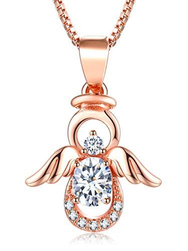 Qings Engel Halskette Gold 925 Sterling Silber Schöne Rose Gold Engel Anhänger mit Twinkling CZ Geburtstagsgeschenk für Frauen Mädchen