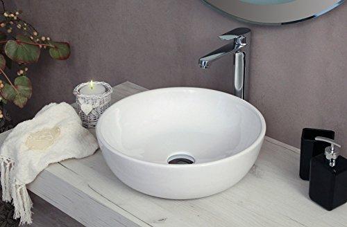 Yellowshop - Lavabo Da Appoggio Cm 41 x 41 Bacinella Lavandino Lavello In Ceramica Bianco Rotondo Tondo Circolare Sanitari Bagno Design Moderno Modello Beat