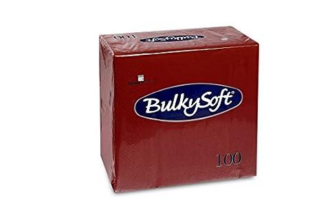 Bulky Soft BS 50-32029-47Serviettes 3Ply 1/4Fold 40x 40cm, bordeaux (Pack of 100)
