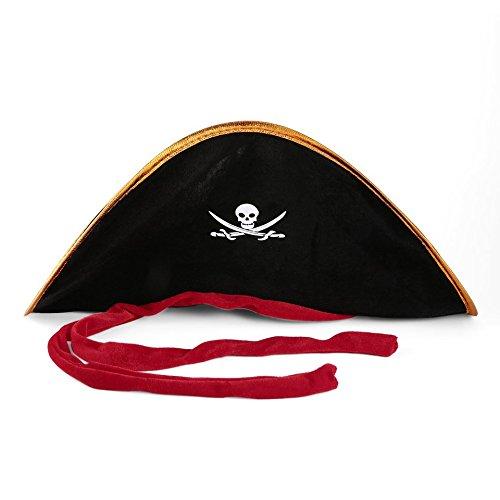 Pirata capitán Hat Skull & Crossbone Design Cap Disfraz Disfraz para fiesta de Halloween Cosplay Sombrero de poliéster con gorra - Negro