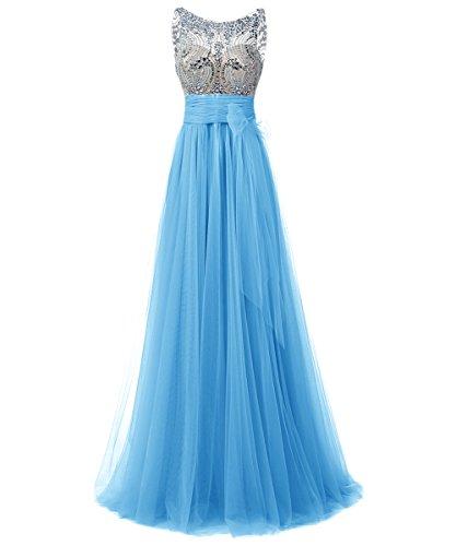 Dresstells, Robe de soirée/cérémonie/gala emperlée longueur ras du sol en tulle col rond sans manches Bleu