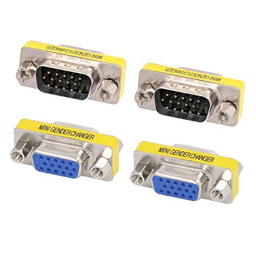 VCE 4 Stück VGA Adapter D SUB Gender Changer VGA Stecker auf VGA Stecker Adapter und VGA Buchse auf VGA Buchse Kupplung 15 Polig -
