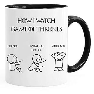 Acen Merchandise Game of Thrones Inspired 'How I Watch The Game of Thrones' - Fun Keramik Tasse Kaffee Tee Becher –Perfekt Valentines/Ostern/Sommer/Weihnachten/Geburtstag/Jahrestag Geschenk