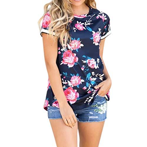 Cuteelf Umstandsmode Schwangere Kurzärmeliges Hemd mit Streifenmuster Blumendruck Kurzärmeliges Hemd mit Rundhalsausschnitt und Streifenmuster zum Stillen Schwangere