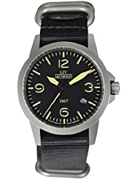 LIV MORRIS 0732066353768 - Reloj para hombres, correa de nailon color negro
