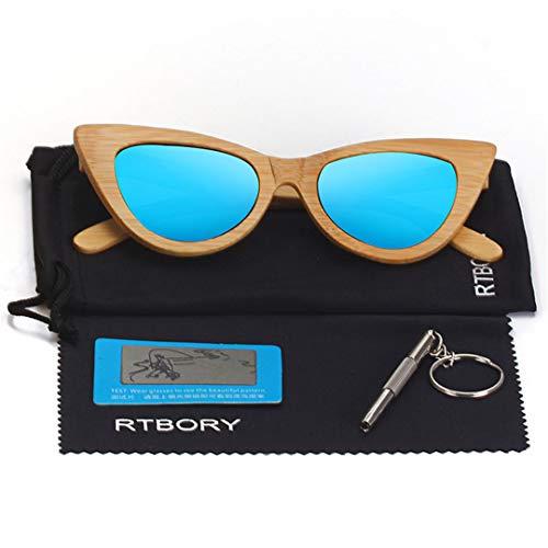 DAIYSNAFDN Cat Eye Holz Sonnenbrille Frauen Polarisierte Spiegel Brille Bambus Rahmen Handgemachte Uv400 Vintage Shades Brillen C1