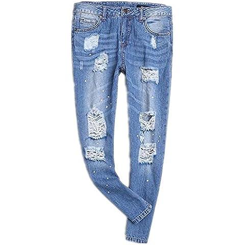 ZYQYJGF Azul Del Dril De Algodón Pantalones Stretch De Las Mujeres Destruir Flaco Arrancó Angustiados En Costura Cremallera Botón Largo Suelto Color Sólido Jeans . S
