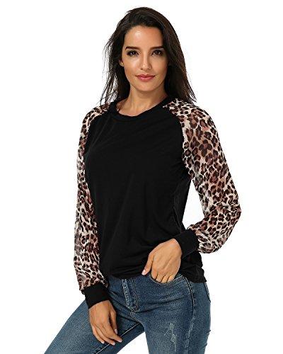 ZANZEA Damen Chiffon Leopard Langarm T-Shirt Tunika Oberteile Bluse Hemd Tops Schwarz EU 34-36/Etikettgröße S (Bluse Leopard Chiffon)