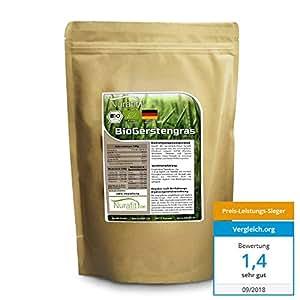 Nurafit BIO Gerstengras Pulver | Smoothie-Pulver aus deutschem Anbau | 1000g / 1kg zertifizierte Spitzenqualität | für Shakes mit Vitaminen, Mineralstoffen und Spurenelementen