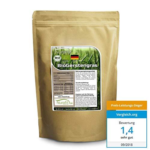 Nurafit reines BIO Gerstengras-Pulver | Green-Smoothie Pulver | zertifizierte Spitzenqualität | Gerstenpulver ohne Zusatzstoffe | Natürlicher Gerstengrasssaft Drink | 500g / 0,5kg -