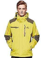 HHORD 3-en-1 deux pièces respirant isolant léger alpinisme k-Way Soft Shell vestes Ski Jacket anti-pilule FleeOutdoorwear hommes