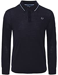 Fred Perry Merino laine Polo manches longues Marine