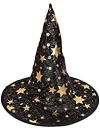Lovinda Sombrero de Bruja Mujer Pentagrama Sombrero de Halloween Maquillaje Fiesta de Baile Suministros de Halloween