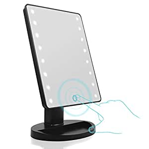 Aodoor Specchio luminoso, LED Specchio Cosmetico, 16 LED Illuminato Luminoso, Schermo Tocco Luce Fredda Bianco Caldo (Bianca)