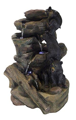 DARO DEKO Brunnen Set mit Stromstecker und Pumpe (F) Bären-Familie (Brunnen Tisch)