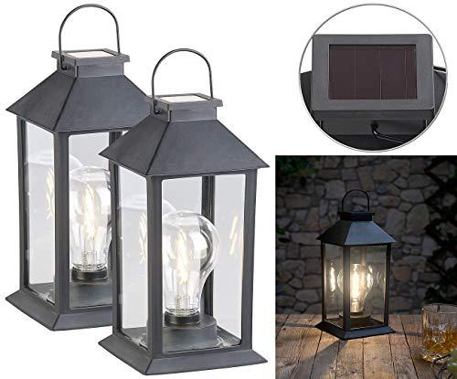 Lunartec LED-Solar-Lampe Garten: 2er-Set Solar-Laterne mit LED-Glühbirne, Dämmerungs-Sensor, Akku, 5 lm (Solar-Deko-Laternen mit Glühbirnen)